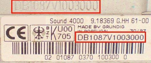 Radio-Code GRUNDIG VW SOUND 4000 VWZ2Z8