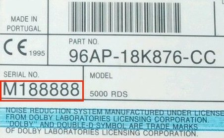 Auto Radio Key Code Ford M Serial