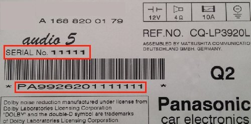 Auto Radio Key Code Panasonic