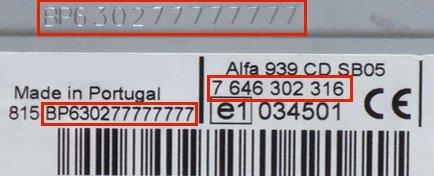 Auto Radio Key Code Blaupunkt ALFA ROMEO